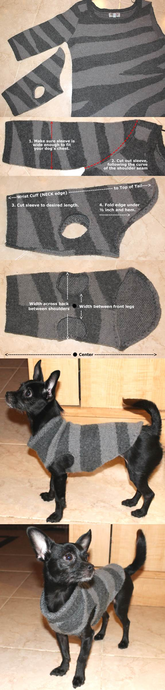 Diy Dog Sweater From A Used Sweater Sleeve Lovepetsdiy Com
