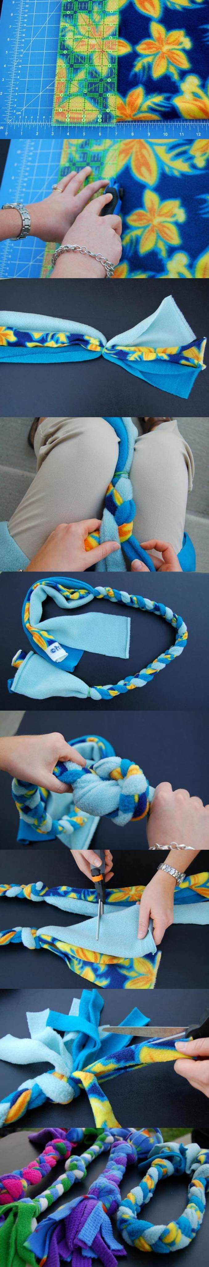 DIY Fleece Rope Dog Toy 2