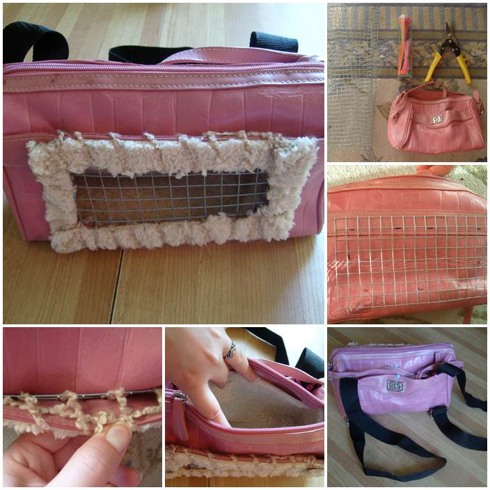 DIY Recycled Small Pet Carrier Backpack 1