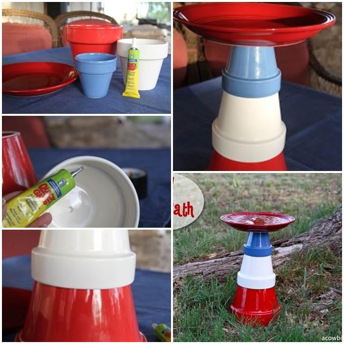 DIY Bird Bath from Clay Pots 1