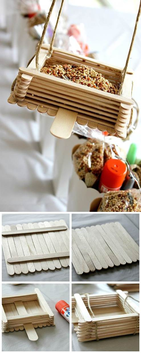 DIY Bird Feeder from Popsicle Sticks 2