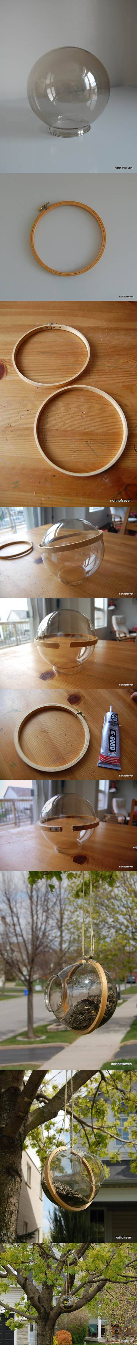 DIY Bird Feeder from a Globe Light Cover 2