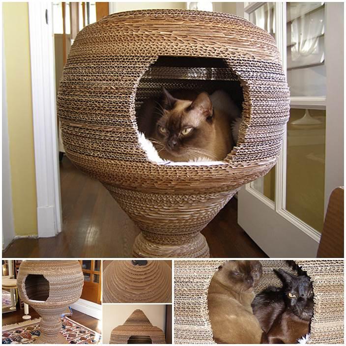 DIY Cardboard Cat Cocoon 1