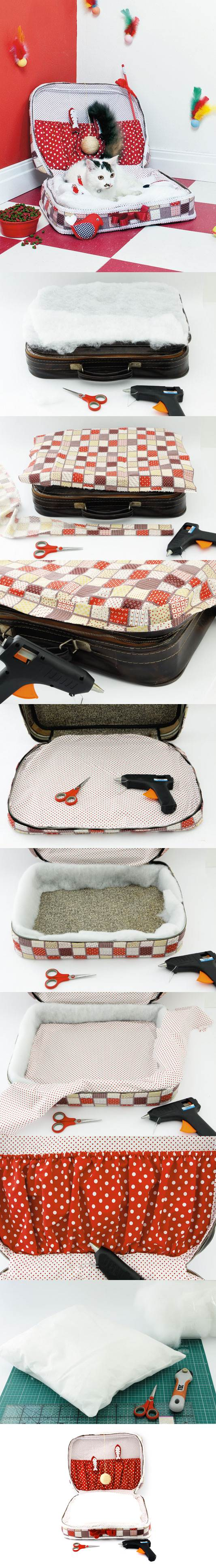 DIY Cat Bed from Old Suitcase 2