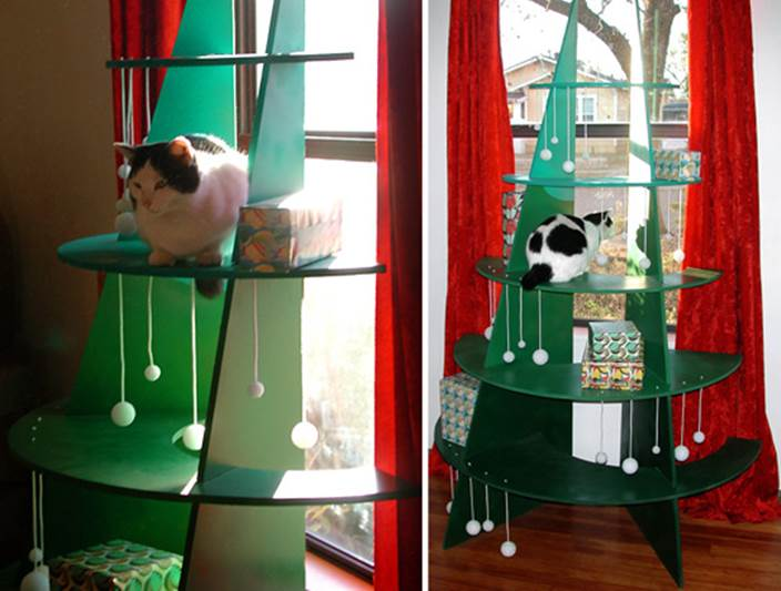 DIY Climbable Christmas Tree For Cats 1