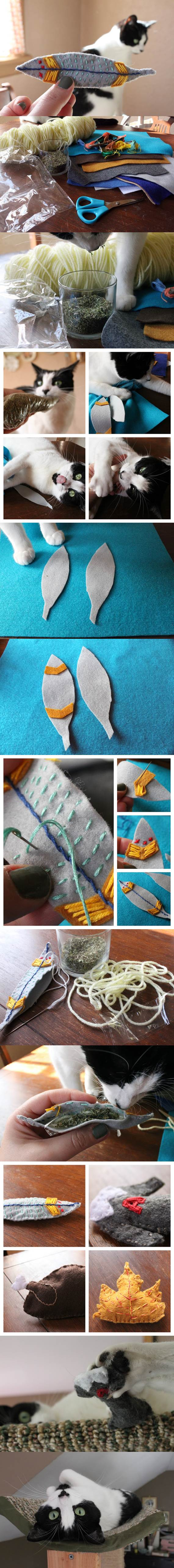 DIY Embroidered Felt Catnip Toys 2