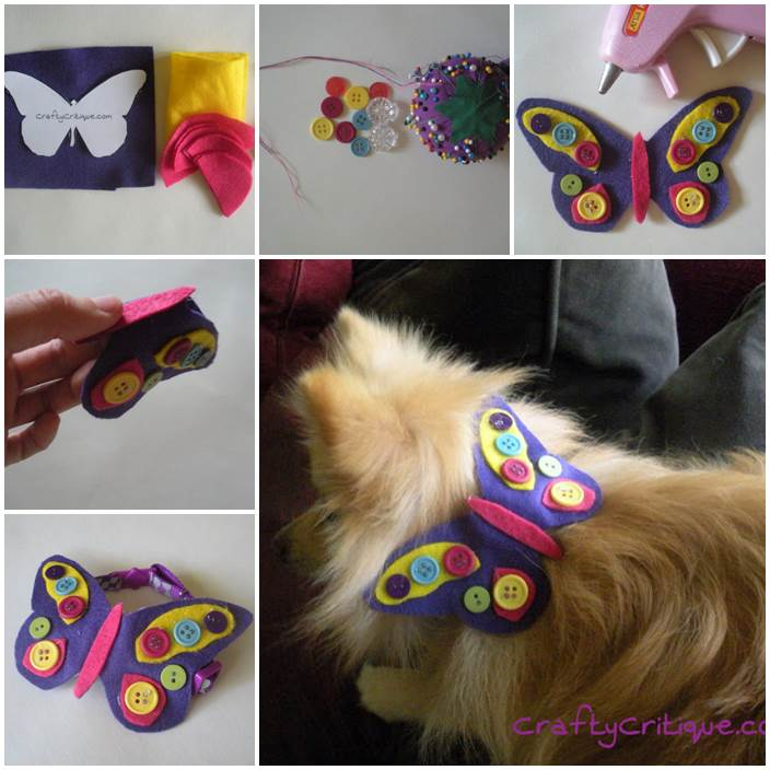 DIY Felt Butterfly Dog Collar Embellishment 1