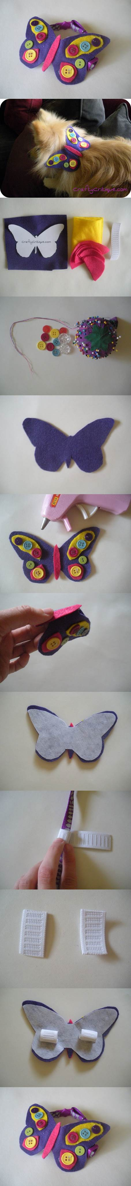 DIY Felt Butterfly Dog Collar Embellishment 2