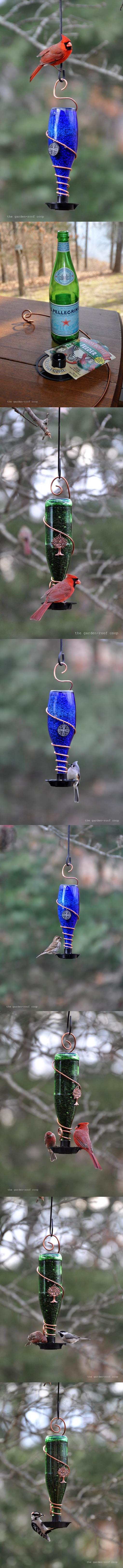 DIY Glass Bottle Bird Feeders 2