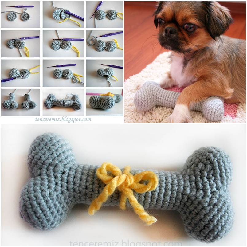 DIY Knitted Dog Bone Toys 1