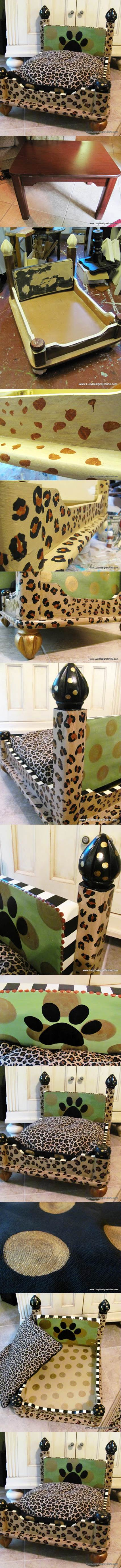 DIY Leopard Print Dog Bed from an End Table 2