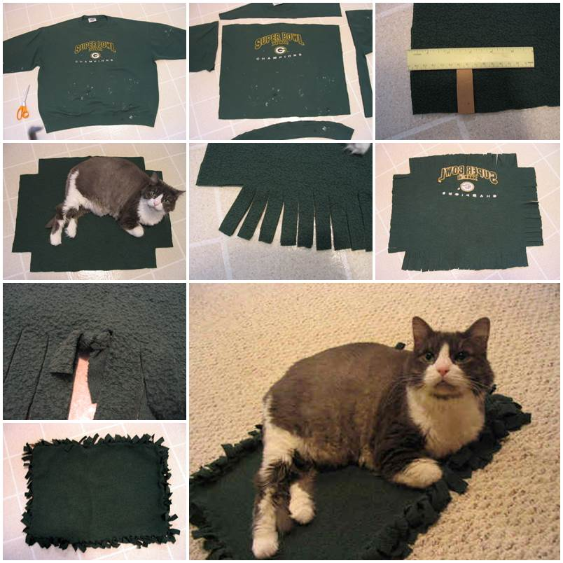 DIY No-sew Cuddly Pet Blanket from Old Sweatshirt 1