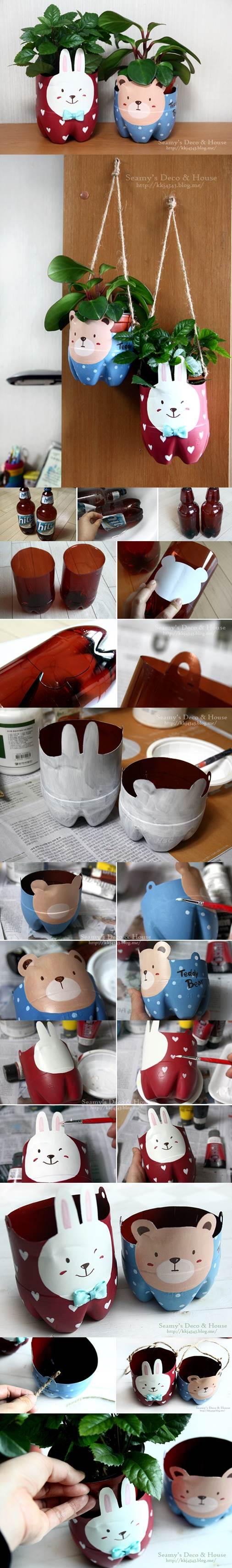 DIY Plastic Bottle Pet Pots 2