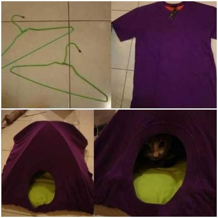 DIY Simple T-shirt Cat Tent 1