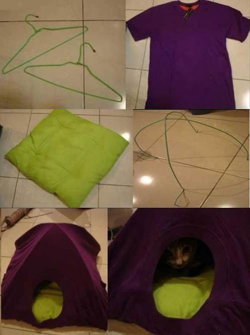 DIY Simple T-shirt Cat Tent 2