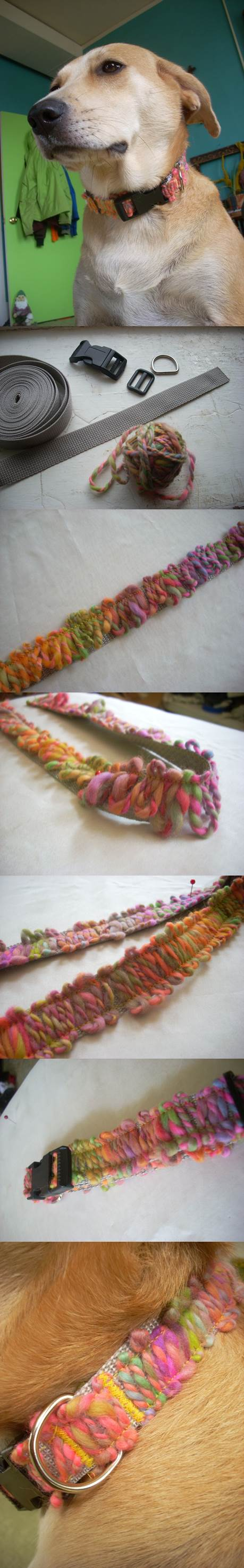 DIY Yarn Appliqued Dog Collar 2