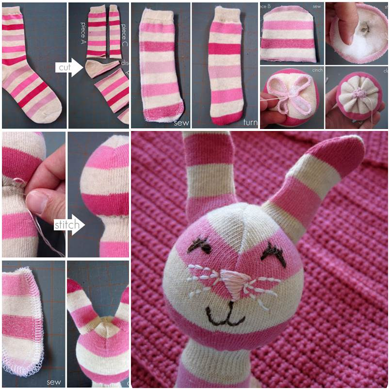 DIY Adorable Sock Bunny Rattle 1