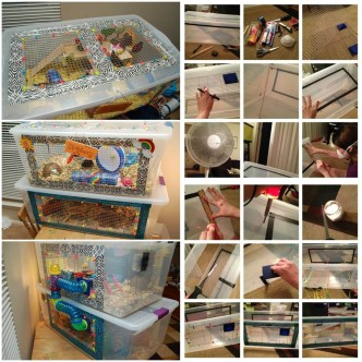 Diy instructions and ideas for your pets for Hamster bin cage tutorial