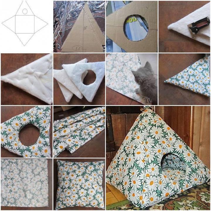 Домики для кота из ткани своими руками фото и видео и схемы
