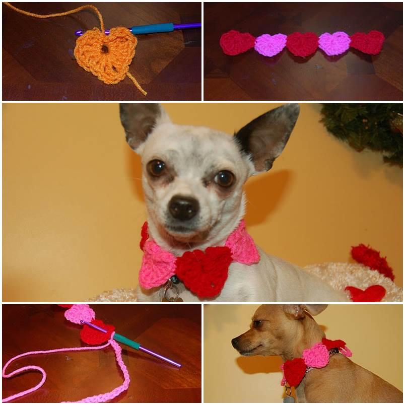 DIY Conversation Hearts Crochet Dog Collar 1