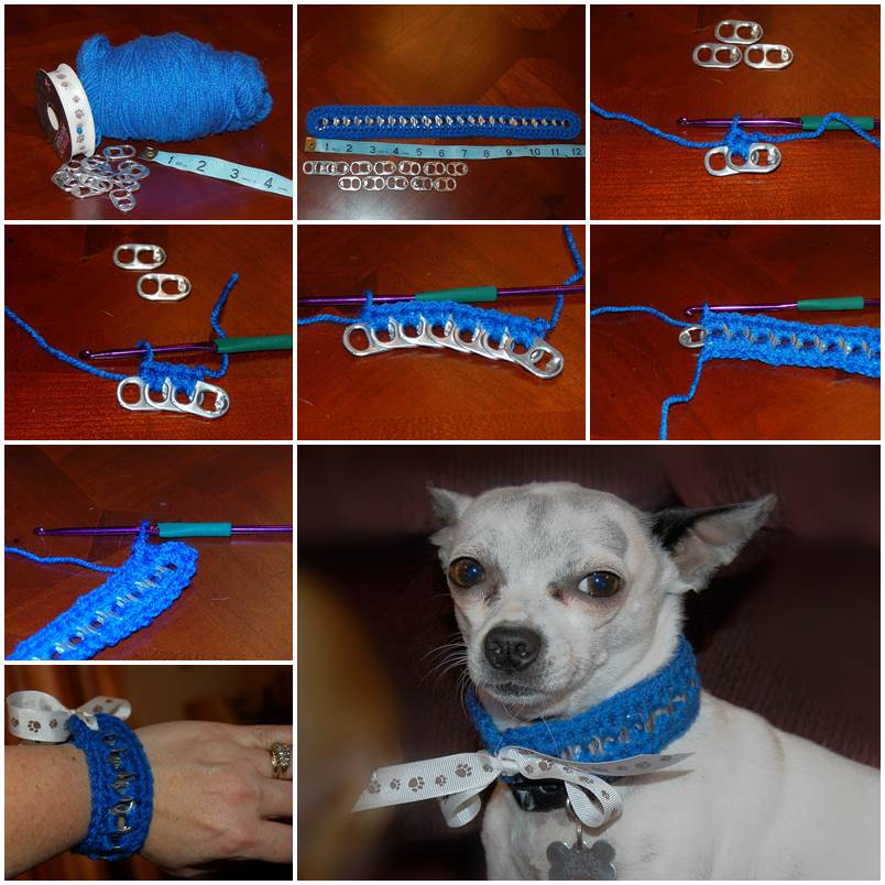 DIY Crochet Pop Tab Dog Collar and Matching Bracelet 1