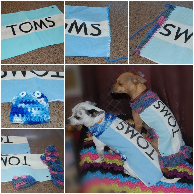 DIY Dog Shirts from Toms Shoe Bags 1