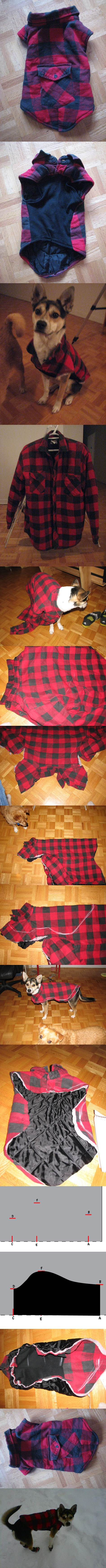 DIY Dog Winter Jacket from Old Shirt 2