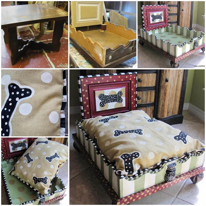 DIY Green Stripes  Dog Bed from an End Table 1