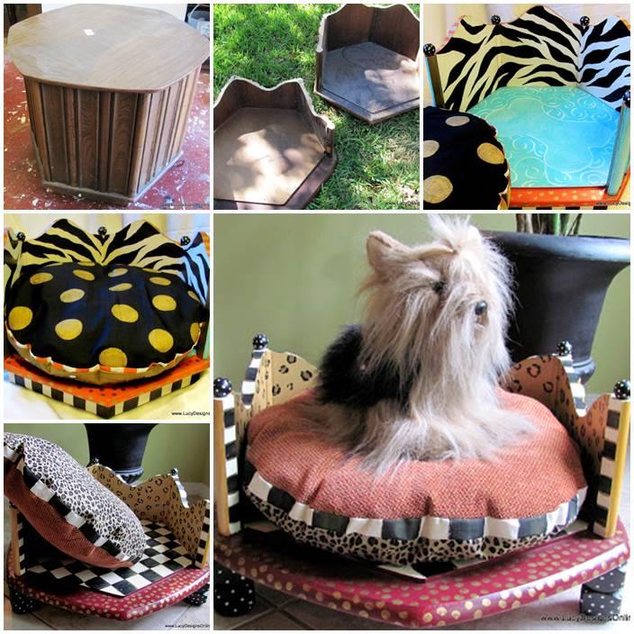 DIY Hand Painted Round Dog Beds from an End Table in Zebra and Leopard Print 1