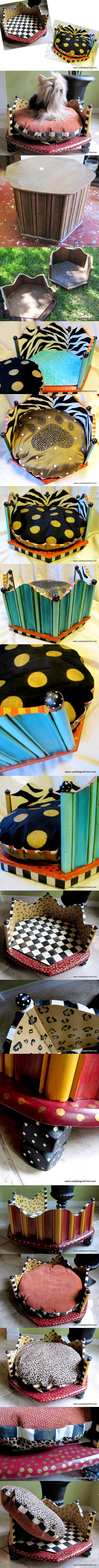 DIY Hand Painted Round Dog Beds from an End Table in Zebra and Leopard Print 2