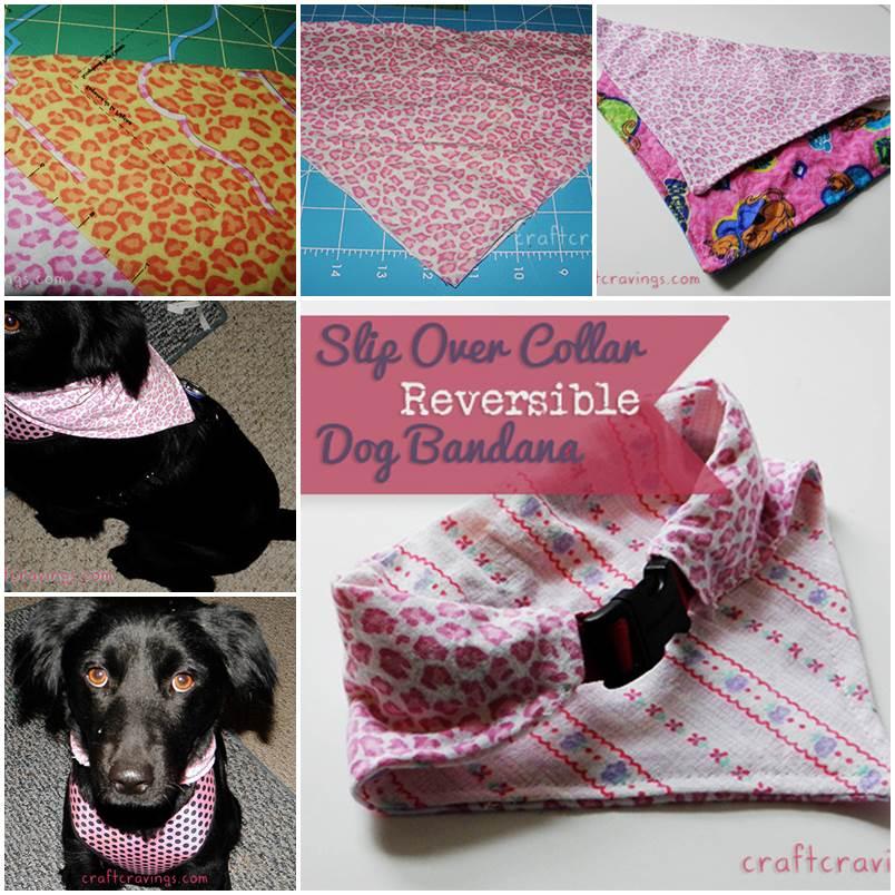 DIY Slip Over Collar Reversible Dog Bandana 1