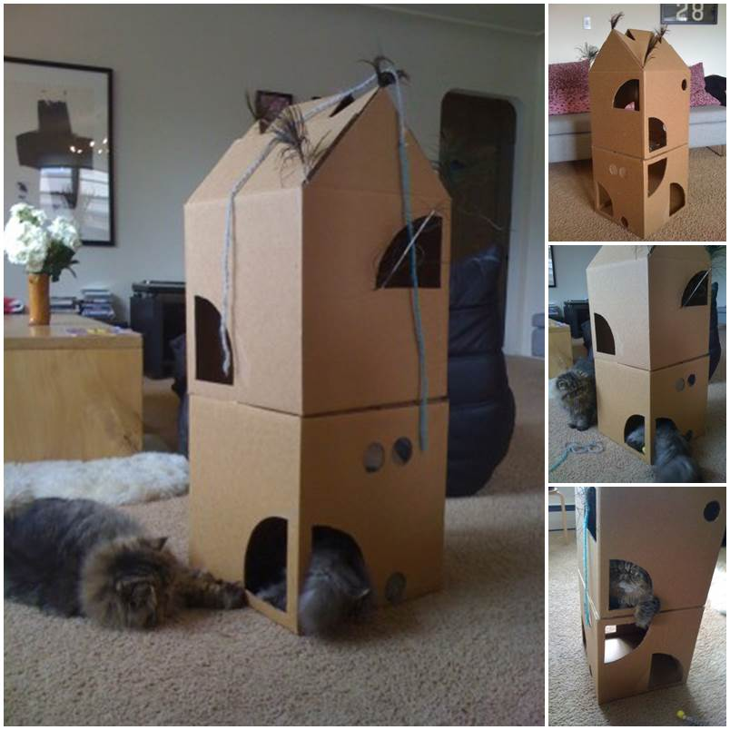 DIY Two-Story Cardboard Cat Climber 1