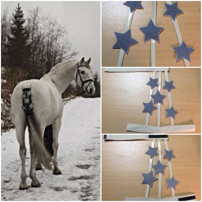 DIY reflective fabric stars tail adornment for horses step by step tutorial instructions 1